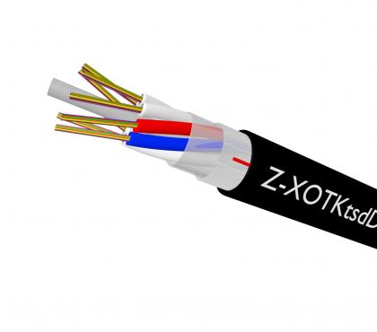 Kabel o zmniejszonej średnicy wzmacniany włóknami szklanymi
